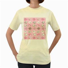 Animals Elephant Pink Cute Women s Yellow T-Shirt