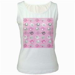 Animals Elephant Pink Cute Women s White Tank Top