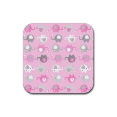 Animals Elephant Pink Cute Rubber Coaster (Square)