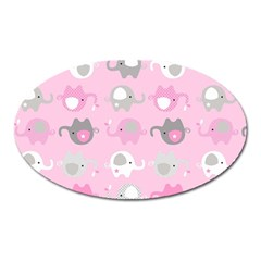 Animals Elephant Pink Cute Oval Magnet