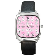 Animals Elephant Pink Cute Square Metal Watch