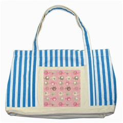 Animals Elephant Pink Cute Striped Blue Tote Bag