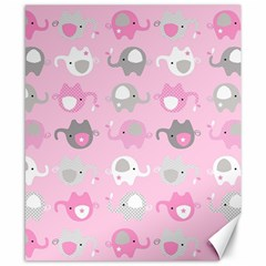 Animals Elephant Pink Cute Canvas 8  x 10