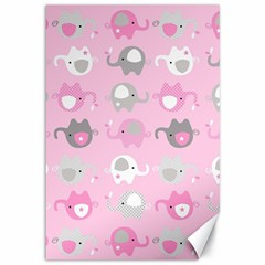 Animals Elephant Pink Cute Canvas 12  x 18