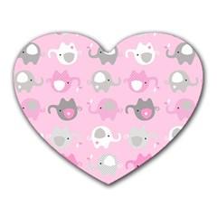 Animals Elephant Pink Cute Heart Mousepads