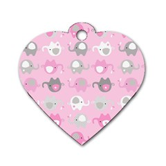 Animals Elephant Pink Cute Dog Tag Heart (Two Sides)