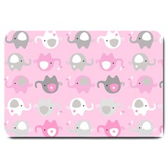 Animals Elephant Pink Cute Large Doormat
