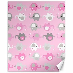 Animals Elephant Pink Cute Canvas 11  x 14