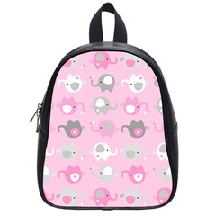 Animals Elephant Pink Cute School Bags (Small)