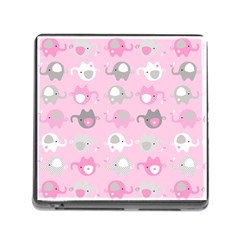 Animals Elephant Pink Cute Memory Card Reader (Square)