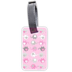 Animals Elephant Pink Cute Luggage Tags (Two Sides)