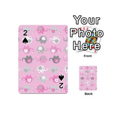 Animals Elephant Pink Cute Playing Cards 54 (Mini)