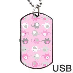 Animals Elephant Pink Cute Dog Tag USB Flash (One Side)