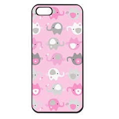 Animals Elephant Pink Cute Apple iPhone 5 Seamless Case (Black)