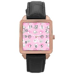 Animals Elephant Pink Cute Rose Gold Leather Watch