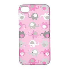 Animals Elephant Pink Cute Apple iPhone 4/4S Hardshell Case with Stand