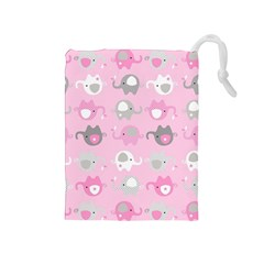Animals Elephant Pink Cute Drawstring Pouches (Medium)