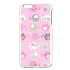Animals Elephant Pink Cute Apple iPhone 6 Plus/6S Plus Enamel White Case