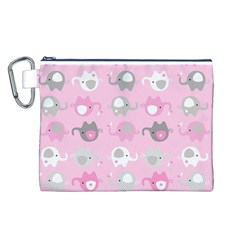 Animals Elephant Pink Cute Canvas Cosmetic Bag (L)