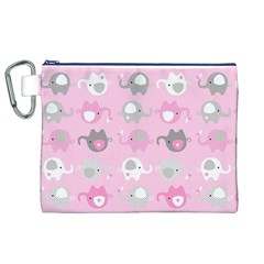 Animals Elephant Pink Cute Canvas Cosmetic Bag (XL)