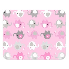 Animals Elephant Pink Cute Double Sided Flano Blanket (Large)