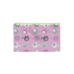 Animals Elephant Pink Cute Cosmetic Bag (XS)