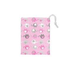 Animals Elephant Pink Cute Drawstring Pouches (XS)