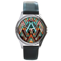 Abstract Mosaic Color Box Round Metal Watch