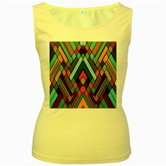 Abstract Mosaic Color Box Women s Yellow Tank Top