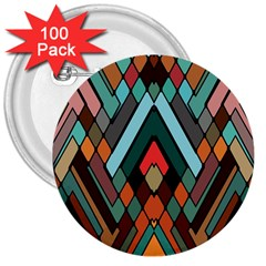 Abstract Mosaic Color Box 3  Buttons (100 pack)