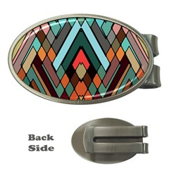 Abstract Mosaic Color Box Money Clips (Oval)