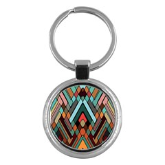 Abstract Mosaic Color Box Key Chains (Round)
