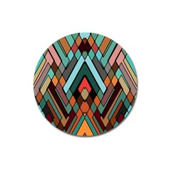 Abstract Mosaic Color Box Magnet 3  (Round)