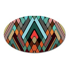 Abstract Mosaic Color Box Oval Magnet