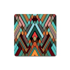 Abstract Mosaic Color Box Square Magnet
