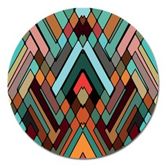 Abstract Mosaic Color Box Magnet 5  (Round)