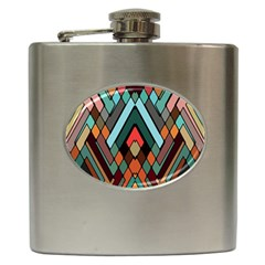 Abstract Mosaic Color Box Hip Flask (6 oz)
