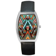 Abstract Mosaic Color Box Barrel Style Metal Watch