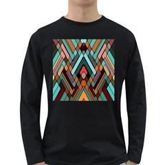Abstract Mosaic Color Box Long Sleeve Dark T-Shirts