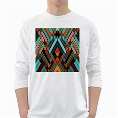 Abstract Mosaic Color Box White Long Sleeve T-Shirts