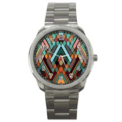 Abstract Mosaic Color Box Sport Metal Watch
