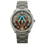 Abstract Mosaic Color Box Sport Metal Watch Front