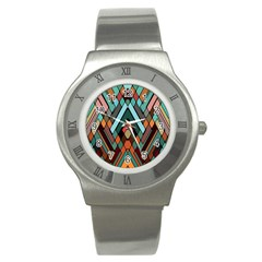 Abstract Mosaic Color Box Stainless Steel Watch
