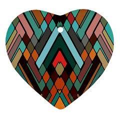 Abstract Mosaic Color Box Heart Ornament (2 Sides)