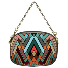 Abstract Mosaic Color Box Chain Purses (Two Sides)