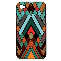 Abstract Mosaic Color Box Apple iPhone 4/4S Hardshell Case (PC+Silicone)