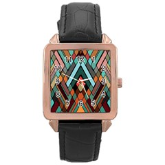 Abstract Mosaic Color Box Rose Gold Leather Watch