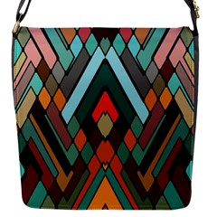 Abstract Mosaic Color Box Flap Messenger Bag (S)