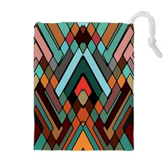 Abstract Mosaic Color Box Drawstring Pouches (Extra Large)