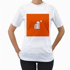Building Orange Sun Copy Women s T-Shirt (White) (Two Sided)